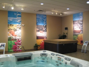 Vinyl Banners in a Spa Store
