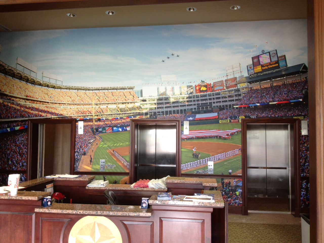 Corporate Lobby Wallpaper Baseball Installed