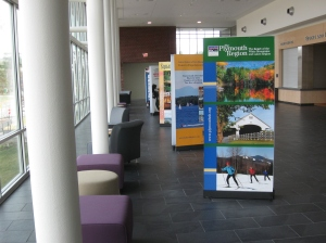 Banner Stands in a university welcome center