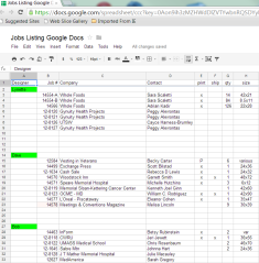 spreadsheet with Google Docs