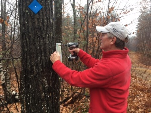 installing a hiking trail sign