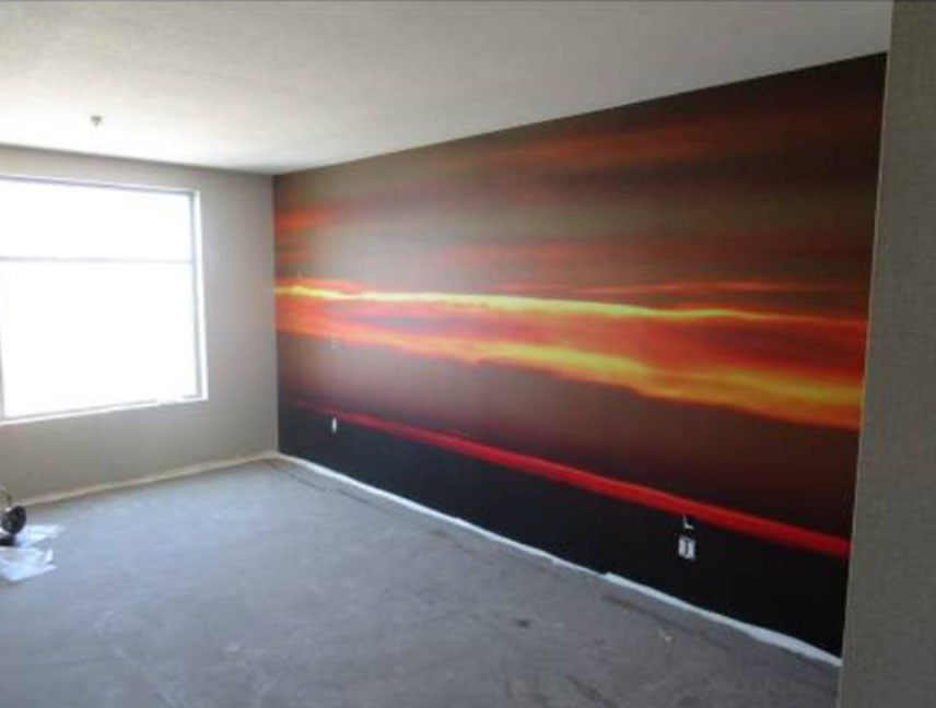 mural in a hotel room